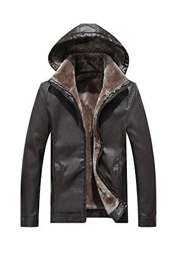 With XINISHI Unremovable Down Winter Jacket Men Zipper Fit Motorcycle Brown Slim PU Leather for Hood and Insulated Vintage vr6wvFPqfB