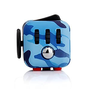 LEDeng Fidget toys Cube for Fidgeters! Relieve Stress, Anxiety, and Boredom all at your finger tips (Camo Blue)