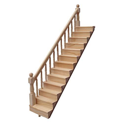NszzJixo9 1:12 Miniature Wooden Stairway Mini Dollhouse Wooden Stairway House Mini Wooden Stairway DIY Villa Model Sccessories Scene Handrail Stairs (A)
