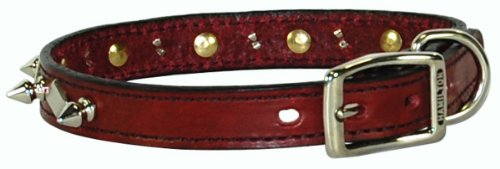 Hamilton 3/4' x 20' Burgundy Leather with Spikes and Diamond Pattern Dog Collar
