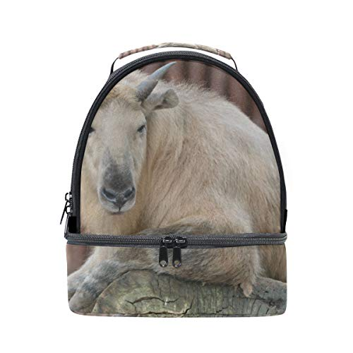 Cute Lucky Takin Animal Portable School Shoulder Tote Lunch Bag Handbag Kids Double Lunch Box Reusable Insulated Cooler For Women Student Travel Outdoor