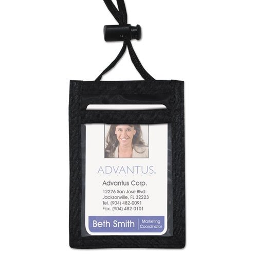 Advantus ID Badge Holder w/Convention Neck Pouch, Vertical, 2 1/4w x 3 1/2, Black, 12/Box - Convention Neck Pouch