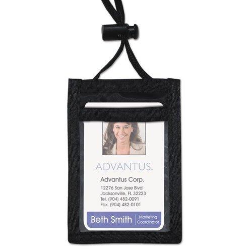 Advantus ID Badge Holder w/Convention Neck Pouch, Vertical, 2 1/4w x 3 1/2, Black, 12/Box - Convention Neck Pouch