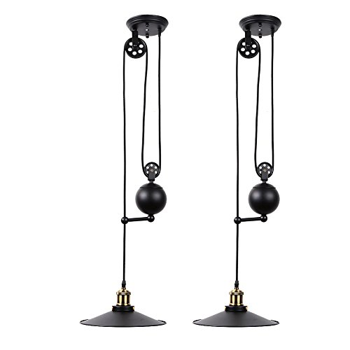 Fuloon Edison Vintage Loft Industrial Pulley Pendant Lights Adjustable Wire Lamps Retractable Lighting (Black) (Black-2) by Fuloon