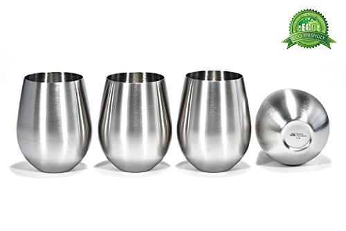 Stainless Steel Wine Tumblers, Set of 4, 18 Oz Unbreakable Stemless Wine Glass – Premium Grade 18/8 Stainless Steel Portable Wine Cup BPA Free Great for Daily, Formal and Outdoor - Wine Glass Steel Stainless