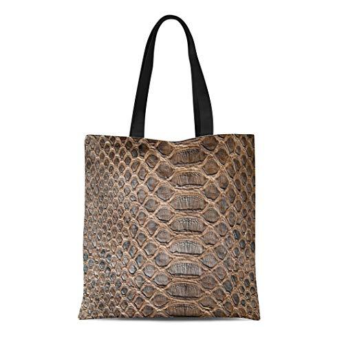 - Semtomn Canvas Tote Bag Shoulder Bags Abstract Black Snakeskin Brown Crocodile Skin Alligator Animal Closeup Women's Handle Shoulder Tote Shopper Handbag