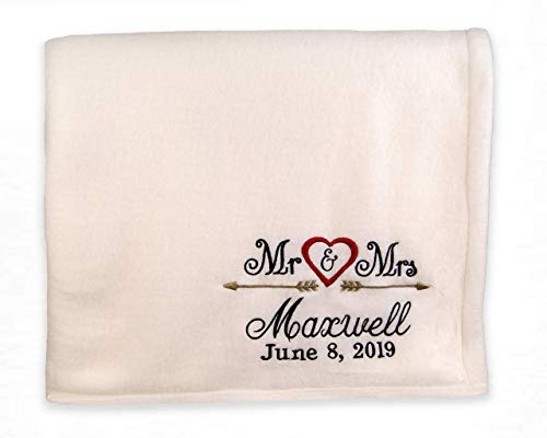 Mr. and Mrs. Arrow Design Throw Blanket, Arrows and Hearts Throw, Wedding Throw, Personalized Wedding Gift, Anniversary Gift, Large Throw