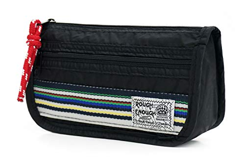 Rough Enough Durable Small Pencil Case Pen Holder Stationery Accessories Storage Bag School Supplies Organizer Cosmetic Makeup Pouch with Rip-Stop Nylon Rainbow Stripe and Zipper