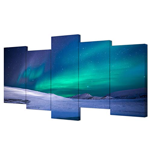 Northern Lights Pictures Canvas Print Aurora Borealis Framed Poster Snow Mountain Landscape Photo Canvas Painting for Living Room Decoration 5 Pieces -