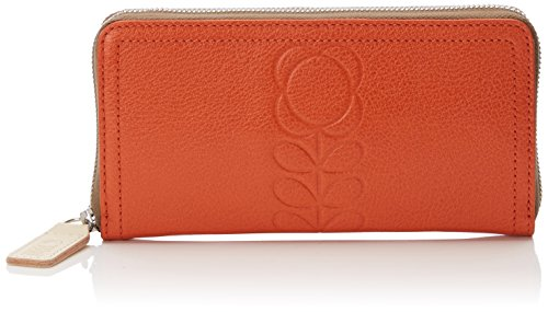 Embossed Flower Leather Big Wallet Wallet, Orange, One Size by Orla Kiely