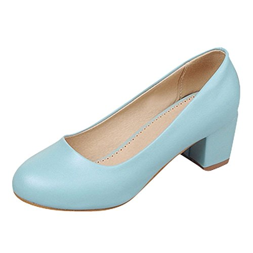 Court Block Show Blue Shine Leather Womens heel Shoes Low PU heel nqOw4p8q