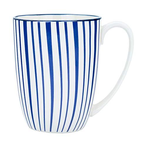 Stripe Design Patterned Tea/Coffee Mug - White/Blue - 350ml (12.5oz)