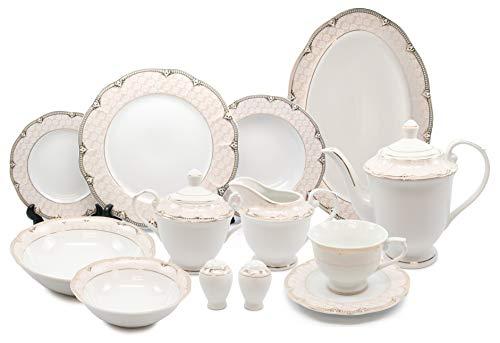 Royalty Porcelain Vintage Antique Gold 57-pc Dinnerware Set 'Sandra', Premium Bone China