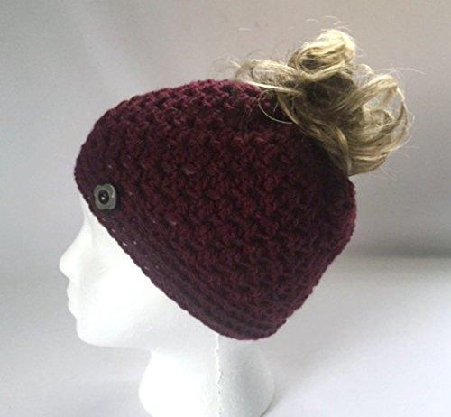 Handmade Messy Bun Hat Burgundy Beanie Wood Button Ponytail Crochet Deep Red Cloche