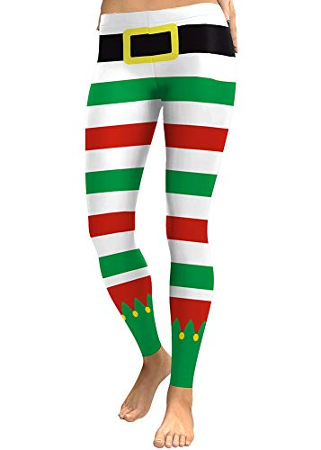 For G and PL Women Christmas Striped Stretchy Ugly Casual Legging Striped Elf Green Red S for $<!--$14.99-->