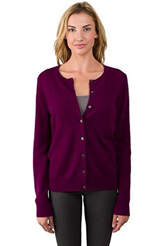Cashmere Like Cardigan Sweater - JENNIE LIU Women's 100% Cashmere Button Front Long Sleeve Crewneck Cardigan Sweater (XL, Plum)
