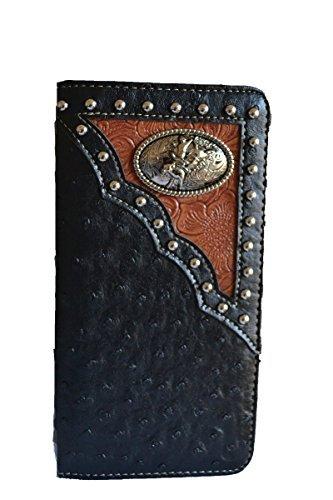 western black bull rider concho studs slim men checkbook wallet