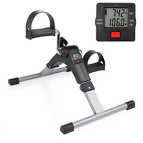 New Folding Pedal Exerciser Mini Exercise Bike Indoor Fitness Arm and Leg...