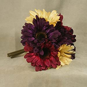 Mixed Cream, Burgundy, and Purple Gerbera Daisy Silk Floral Bouquet - 7 Stems Total 80