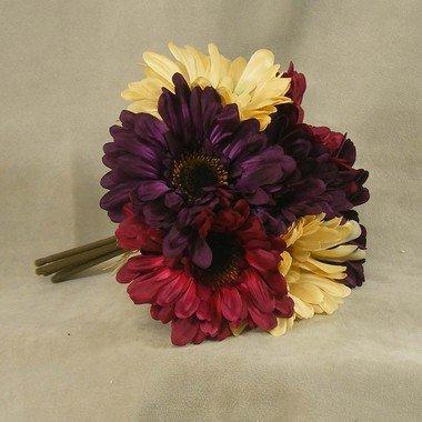Mixed Cream, Burgundy, and Purple Gerbera Daisy Silk Floral Bouquet - 7 Stems (Purple Gerber Daisy)