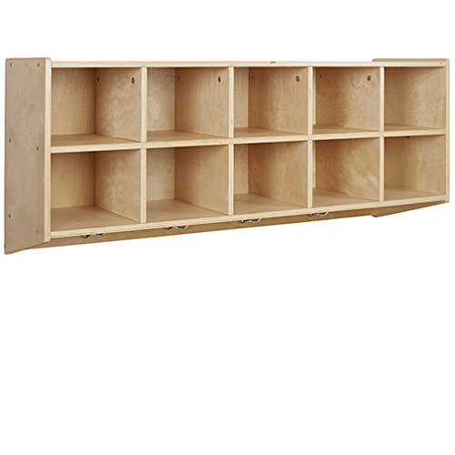 ECR4Kids 10-Cubbie Birch Hardwood Wall Mount Hanging Coat Locker