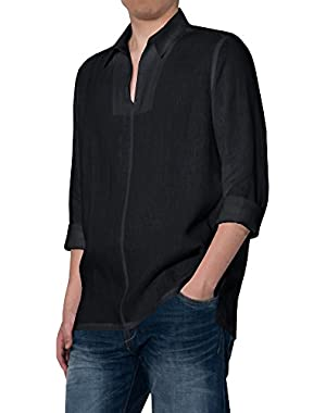 Mens Buttons up Shirts Casual Crew Neck Long Sleeve Loose Solid T Shirt Tops