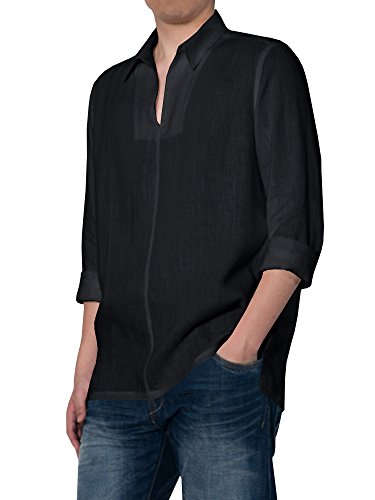 Karlywindow Mens Buttons up Shirts Casual Crew Neck Long Sleeve Loose Solid T Shirt Tops -