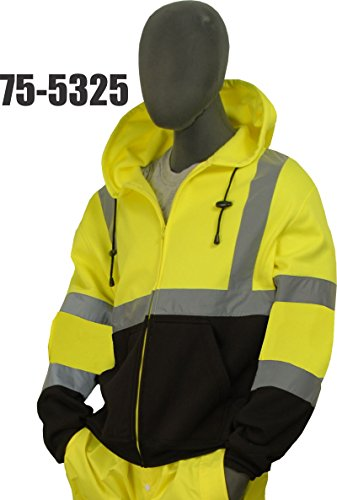 Majestic CLASS 3 HIGH VISIBILITY ZIPPER SWEATSHIRT WITH HOOD - 2X LARGE, YELLOW/BLACK(75-5325/X2)