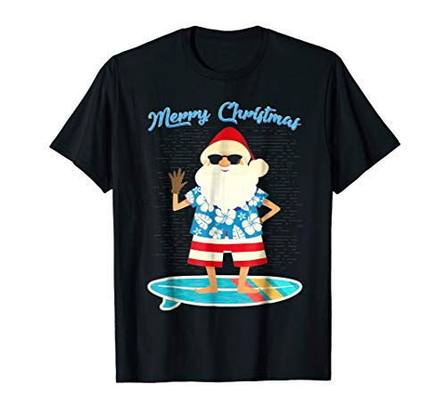 Flowers Hawaiin Blue (Retro Santa Claus Surfing Hawaiin Summer Christmas Tee)
