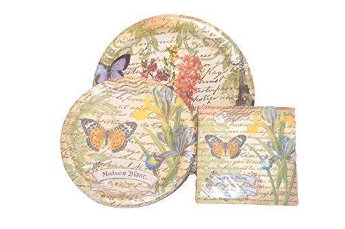 Bundle of 3 -Maison Blanc Botanical Luncheon Plates, Dessert Plates, Beverage - Brand Maison