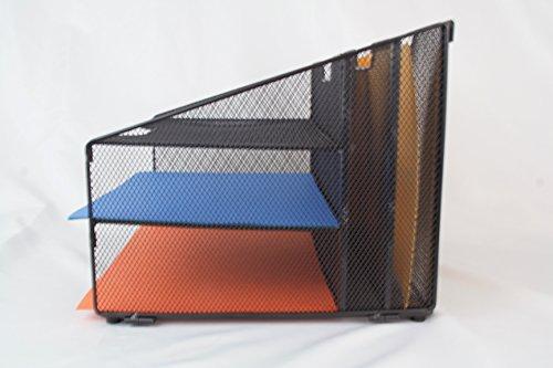 5 Compartment Metal Mesh Desktop File Sorter Desk Tray
