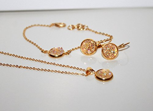 - Clear Druzy Jewelry Set / Necklace, Bracelet, Leverback Dangle Earrings, 10 mm, Bridesmaid gold gift