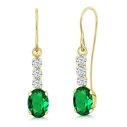 Yellow Gold Earrings 10k Emerald (1.04 Ct Green Simulated Emerald White Created Sapphire 10K Yellow Gold Earrings)