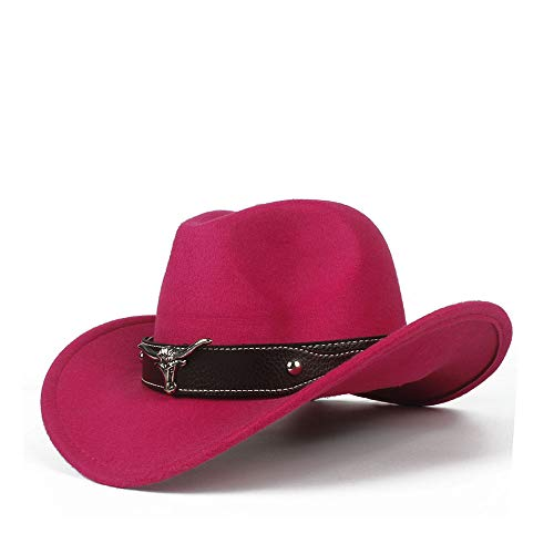 LCLiang Unisex Equestrian Cap Comfortable Dakota Crushable Wool Felt Western Cowboy Casual Hat (Color : Pink, Size : 56-58cm) ()