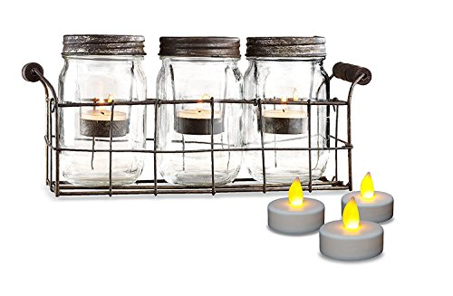 Beautiful Set of 3 Glass Mason Jars Votive Candle Holder, Decorative Wedding Centerpiece Candles With Rustic Wire Basket Tray, set of 3 Tealight Party Candles - Battery Operated