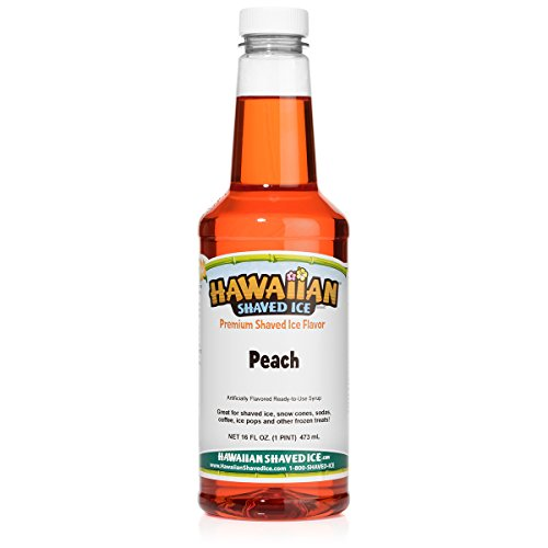 Hawaiian Shaved Ice Peach Snow Cone Syrup, 1 Pint