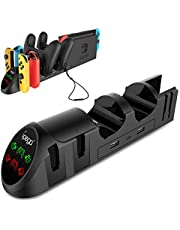 Controller Charger for Nintendo Switch, 6 in 1 Desktop Extended Charging Station Dock for 4 Joy-Con, 2 Pro Controllers, 2 Joy-con Wrist Straps with USB 2.0 Plugs and USB 2.0 Ports - Black