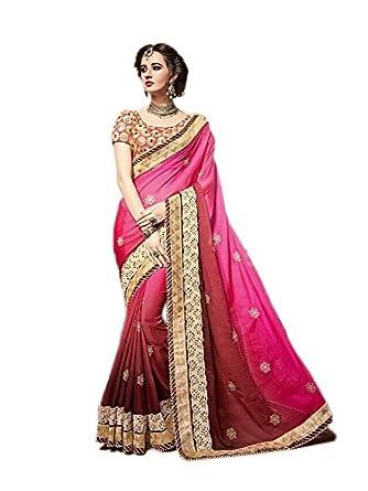 257ff4ca384 Rehsha Women Shaded Art Silk Mirror Work Bridal Pakistani Saree Indian  Wedding Party Wear Sari  Amazon.co.uk  Clothing