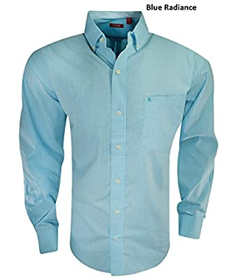 IZOD Men's Button Down Long Sleeve Stretch Performance Gingham Shirt
