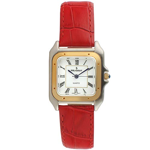 Peugeot Women Two-Tone Tank Shape Dress Watch with Designer Leather Wrist Band, Red