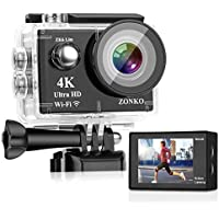 Zonko 4K 16MP 4X Zoom Wi-Fi Sports Waterproof Camera with 2
