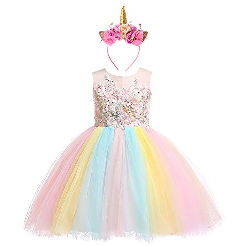 Weileenice 2-14T Kids Costume Cosplay Dress Girl Rainbow Tulle Dress with 3D Embroidery Beading Baby Girls Princess Dress (9-10 Years, Peach/Rainbow(with Headband)) -