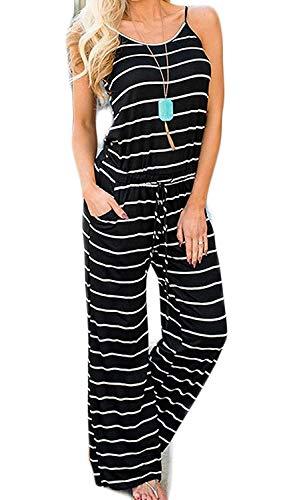 Artfish Women Sexy Sleeveless Spaghetti Strap Striped Printed Harem Jumpsuit with Pocktes (Black Striped, L) New