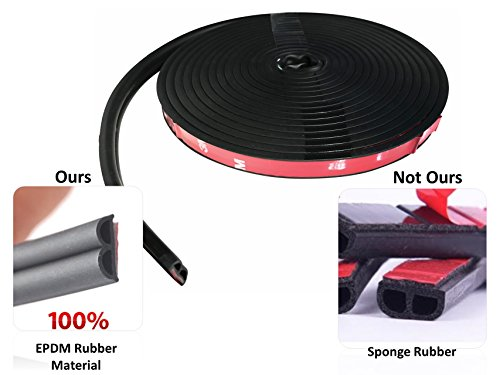 Weatherstripping for Car Door/Hood By COSMOSS, Sound/Wind Reduction Rubber Seal, Easy D.I.Y. With 3M Adhesive Tape, 7/16