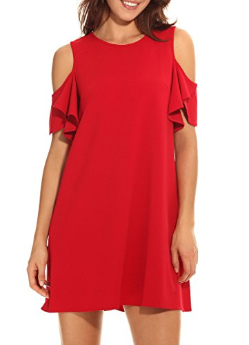 PrinStory New Women's Chiffon Cold Shoulder Sleeve Dress