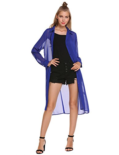 zeagoo Womens Long Sleeve Open Front Long Cardigan Roll Up Sleeve Button Shirt,Blue,Small
