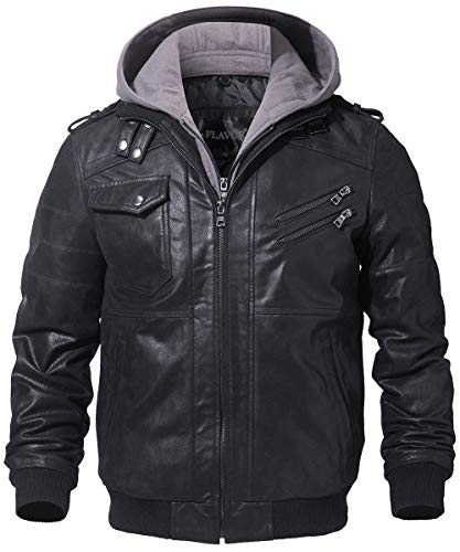 2 Mens Motorcycle Jacket - FLAVOR Men's Leather Motorcycle Jacket with Removable Hood Brown Pigskin (Large(US Standard), Black+Gray)
