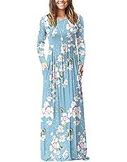 DEARCASE Women's Long Sleeve Loose Plain Maxi Dresses Casual Long Dresses with Pockets