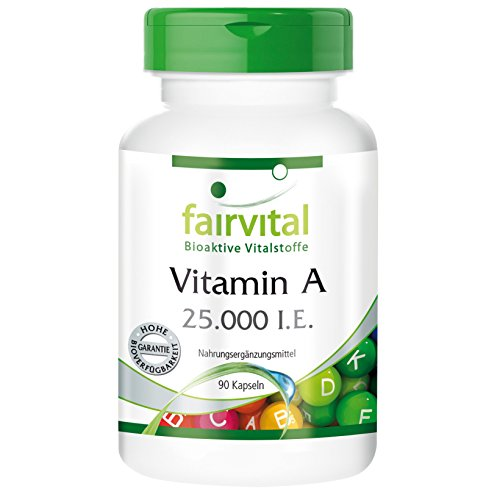 Vitamin A 25.000 I.E. - 90 Kapseln - hochdosierte Reinsubstanz für alle, die Extra Vitamin A benötigen