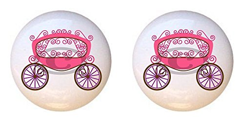 SET OF 2 KNOBS - Carriage - Princess by PP - DECORATIVE Glossy CERAMIC Cupboard Cabinet PULLS Dresser Drawer KNOBS (Princess Drawer Pull)